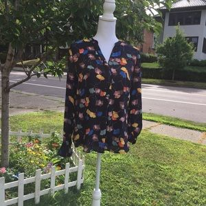 The Limited navy floral long sleeved blouse